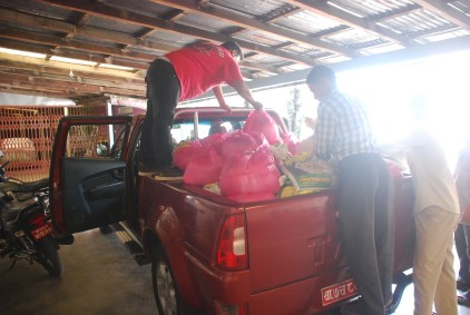 Loading the truck with supplies
