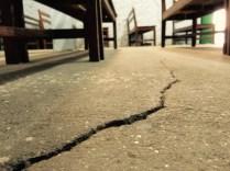 Earthquake crack in Kathmandu Vineyard