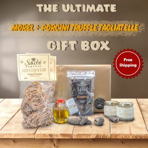 We've created the ultimate wild gift box for you! This amazing Morel and Porcini Tagliatelle with Italian White Truffle Sauce is perfect for a holiday dinner and can serve 6. We are also offering free shipping for this product anywhere in US. Our Morel and Porcini Tagliatelle with Italian White Truffle Sauce Kit Features : Dried Morel Mushrooms (30g) 2 x Porcini Pasta 2 x White Truffle Sauce Truffle Oil Morel and Porcini Pasta with Italian White Truffle Sauce Recipe
