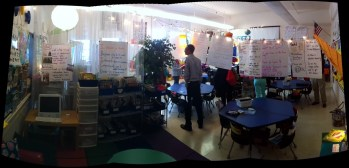 Another stitched photo showing the use of anchor papers to divide classroom into work zones.