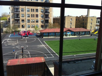 This year they received a small patch of turf - otherwise, they have no grass for their playground.
