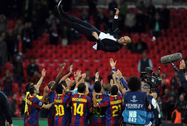 Pep Guardiola celebrates Champions League triumph