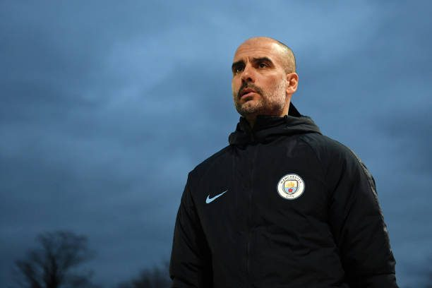 NEWPORT, WALES - FEBRUARY 16:  Josep Guardiola, Manager of Manchester City looks on during the FA Cup Fifth Round match between Newport County AFC and Manchester City at Rodney Parade on February 16, 2019 in Newport, United Kingdom.  (Photo by Michael Regan/Getty Images)