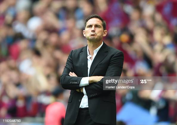LONDON, ENGLAND - MAY 27: Frank Lampard, Manager of Derby County looks dejected after his team concedes during the Sky Bet Championship Play-off Final match between Aston Villa and Derby County at Wembley Stadium on May 27, 2019 in London, United Kingdom. (Photo by Harriet Lander/Copa/Getty Images)