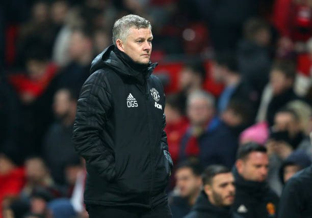 MANCHESTER, ENGLAND - JANUARY 22: Manchester United Manager, Ole Gunnar Solskjaer walks off at half-time  during the Premier League match between Manchester United and Burnley FC at Old Trafford on January 22, 2020 in Manchester, United Kingdom. (Photo by Alex Livesey/Getty Images)