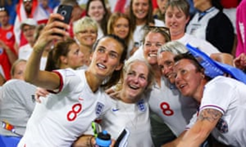 Jill Scott taking a Selfie with friends and family at the 2019 Women's Football World Cup