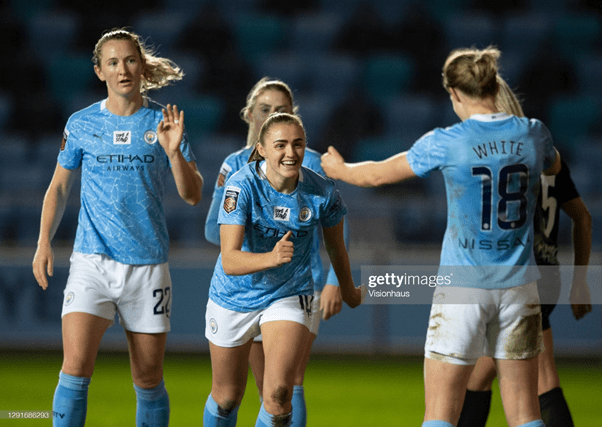 Manchester City WFC playing against Goteborg FC for the second Leg of the UEFA Women's Champions League Round of 32. Photo by Joe Prior/Visionhaus Via Getty Images