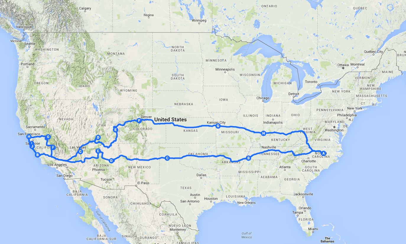 Planning A Cross Country Road Trip Itinerary