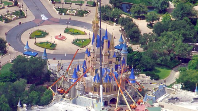 Aerial view of Cinderella Castle Construction before reopening! 1
