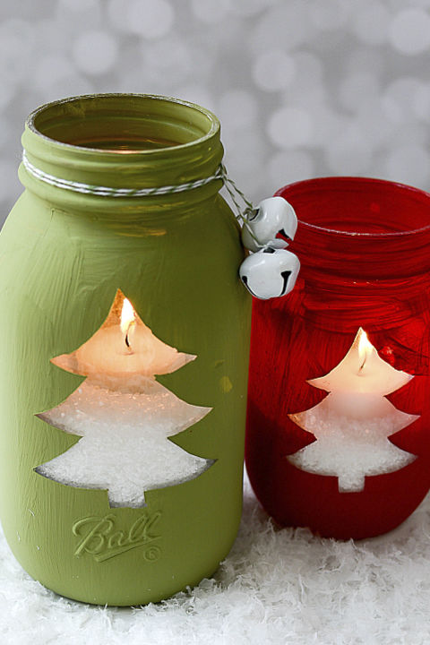 These colorful jars will light up your home on those cold winter nights. Get the tutorial at Mason Jar Crafts Love. What you'll need:Mason jars ($22; amazon.com); Red chalkpaint ($9; amazon.com); Green chalkpaint ($6, amazon.com)