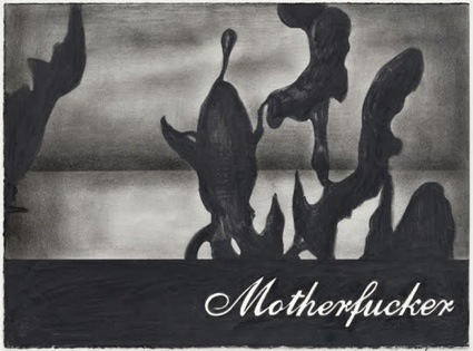 Eeden, Untitled (Motherfucker), 2009, Nero pencil on hand-made paper, 28 x 38 cm (unframed) 34.3 x 44.4 cm, (framed) lo res.jpg