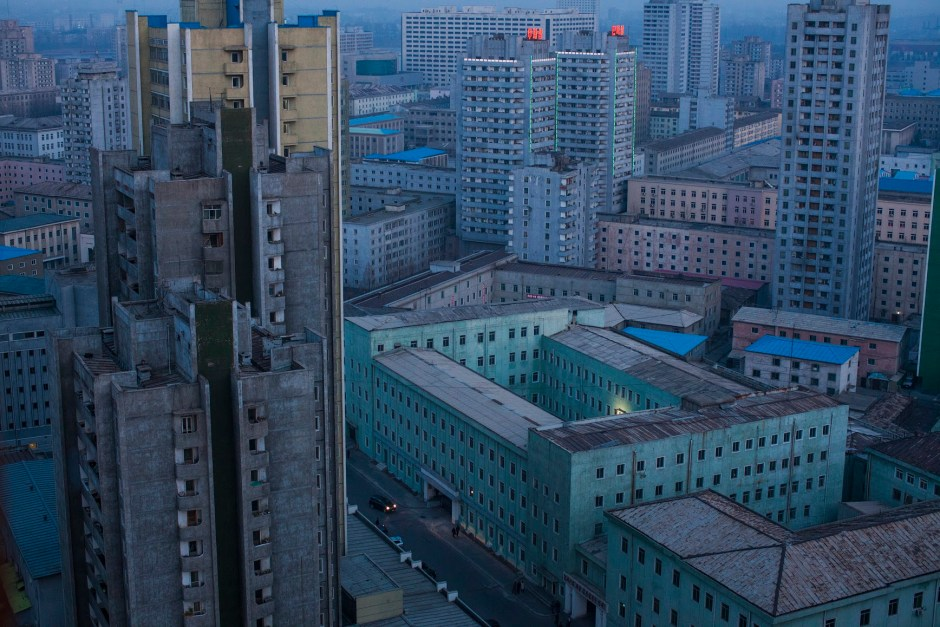 At dusk, the skyline of central Pyongyang, North Korea.
