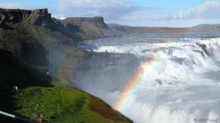 Double rainbows over the Gulfoss waterfall in Iceland