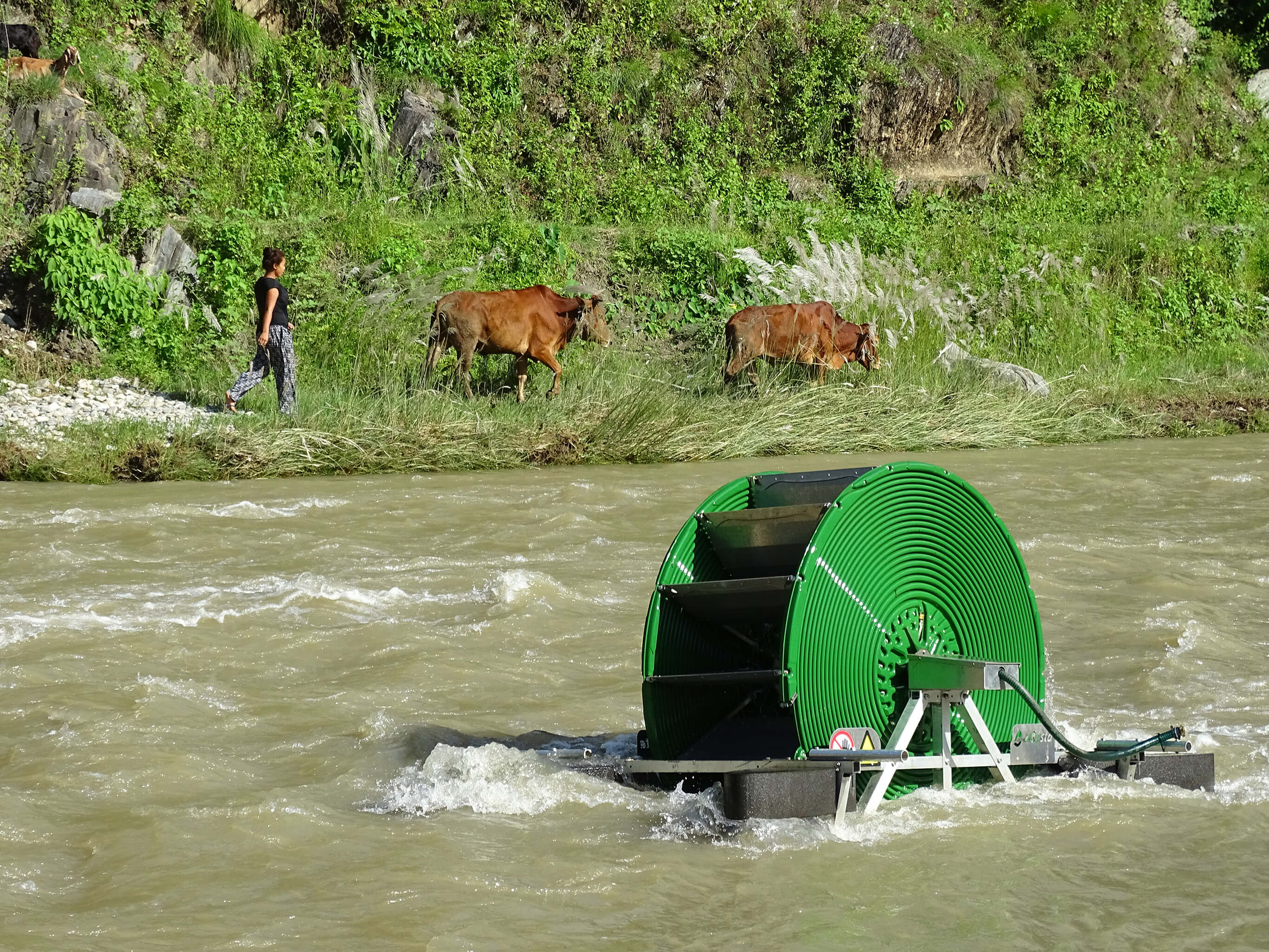 photo of water pump in river with woman and two cows walking on the far riverbank