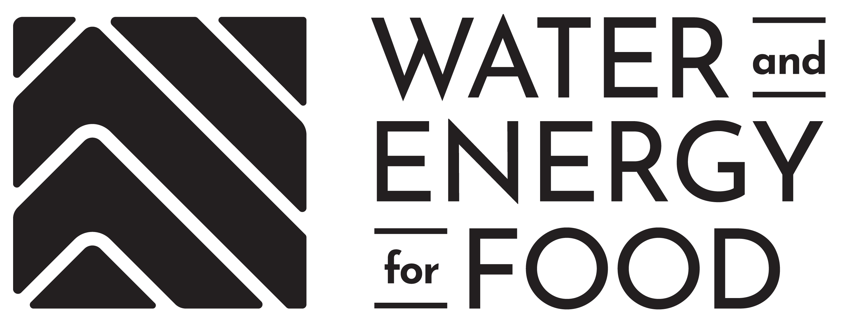 black version of the Water and Energy for Food logo