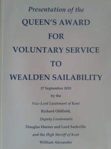 certificate for the presentation of the queens golden jubillee award for voluntary services to Wealden sailability on 17th sept 2015