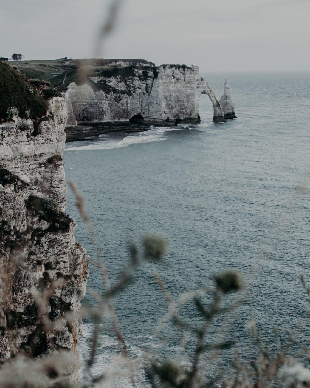 grassy cliffs near endless sea