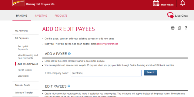 How to fund questrade from Online banking bill payment