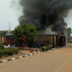 Container loads of Election Materials Caught Fire at the INEC office In Anambra