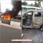 Fatal Accident !!! Resident burns Man's Car After Crushing Okada Man To Death In Sapele, Delta State (Photos & Video)
