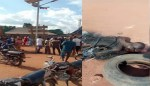 Irate Mob sets Ablaze Suspected Robber who Allegedly Raped a Woman at Gunpoint and Stole N800 In Benue State ( Photos)