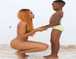 Ghanaian Actress, Akupem Poloo goes Naked in front of her Son to Wish him a Happy 7th Birthday