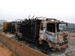 Angry Youths burn Truck & the Cows in it After a Boy Was Crushed by the Truck in Oyo State (Photos)