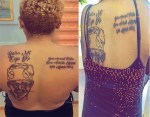 Nigerian Lady tattoos Bola Tinubu's face, name and date of birth on her back (photos)