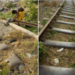 Man spotted cutting rail lines into different sizes in Enugu State