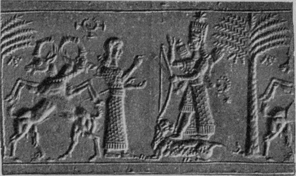 Female figure in adoration before a goddess