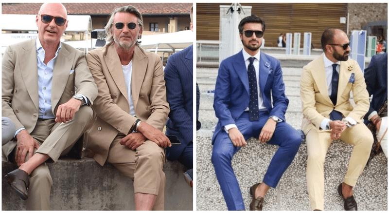 スーツにローファーをコーデする外国人男性