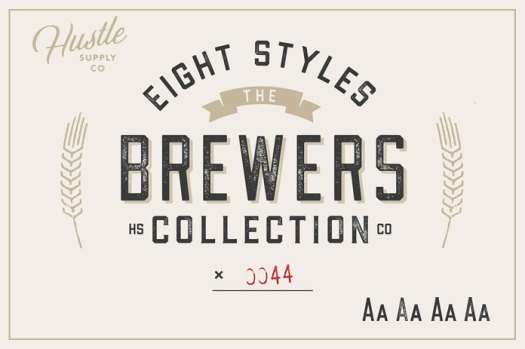 Brewers Font Collection 8 fonts designed by Jeremy Vessey.
