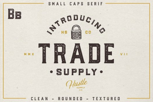 Trade Supply - retro serif typeface.