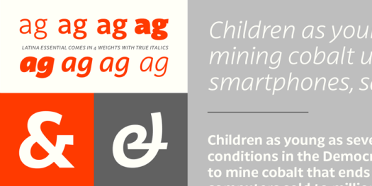 Latina Essential font family, 4 weights plus true Italics and alternate characters.
