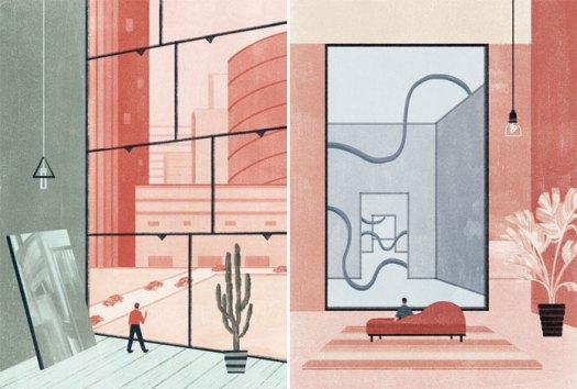 Milano App City article by Davide Piacenza.Illustrations created by Andrea Mongia for Rivista Studio.