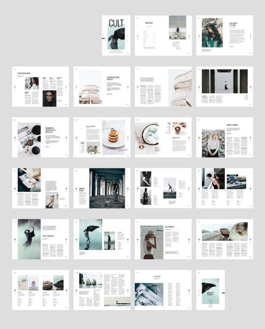Moscovita InDesign magazine template, all spreads with 44 custom pages.