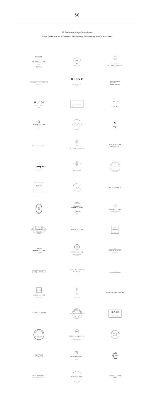 50 minimalist fashion brand logos.