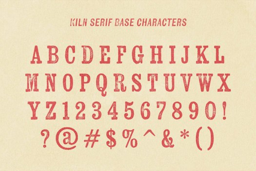 Kiln Serif basic characters.