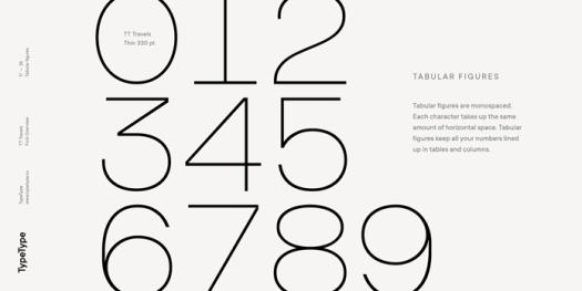 TT Travels font family, Tabular figures.