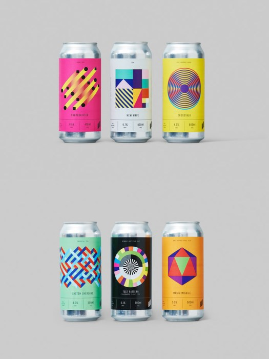 Beer packaging based geometric shapes.