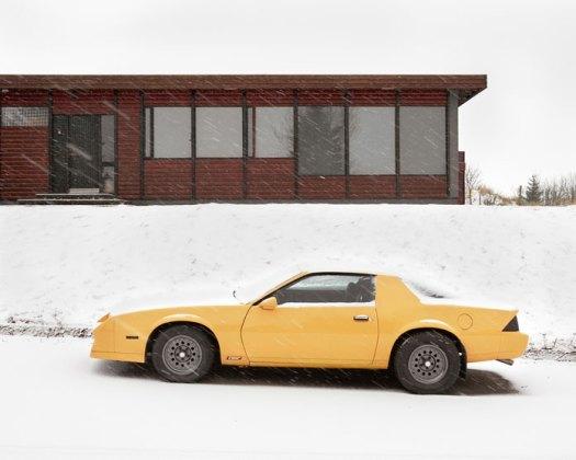 Balint Alovits Photography, A shiny yellow car in the snow.
