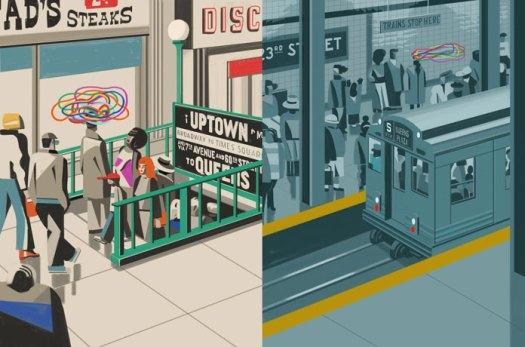 The Great New York Subway map • Moma 2018 - illustrations by Emiliano Ponzi.