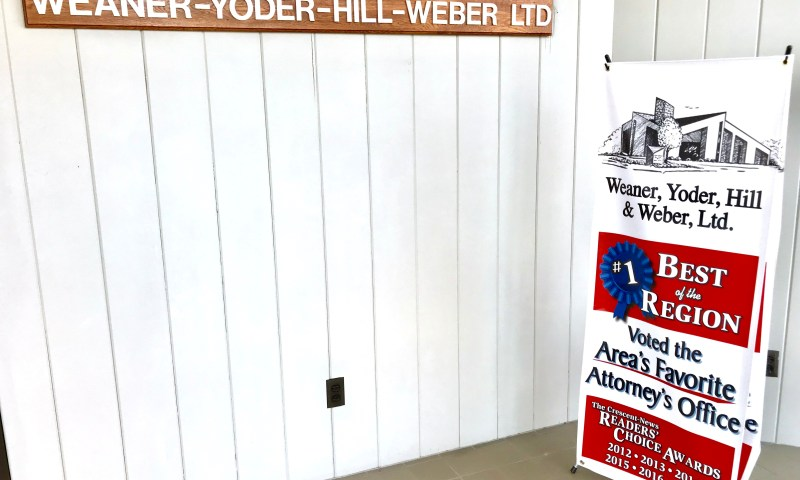 Weaner, Yoder, Hill & Weber voted the Area's Favorite Attorney's Office since 2012 through The Crescent-News Readers' Choice Awards