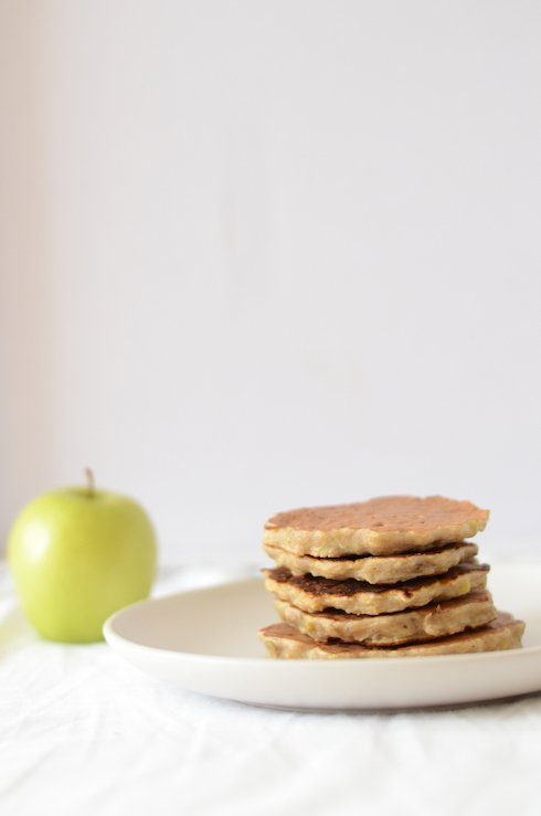 A photo of apple and banana pancakes for baby