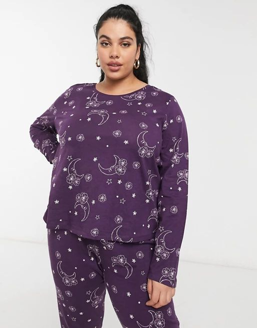 ASOS DESIGN Curve exclusive mix & match tarot long sleeve pyjama tee in purple