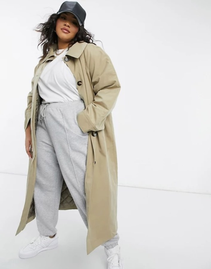 ASOS DESIGN Curve boyfriend trench with quilted liner in stone