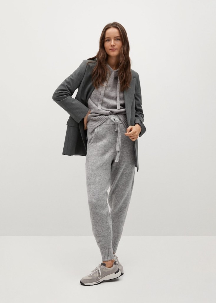 Fine-knit sweater and jogger-style trousers from Mango