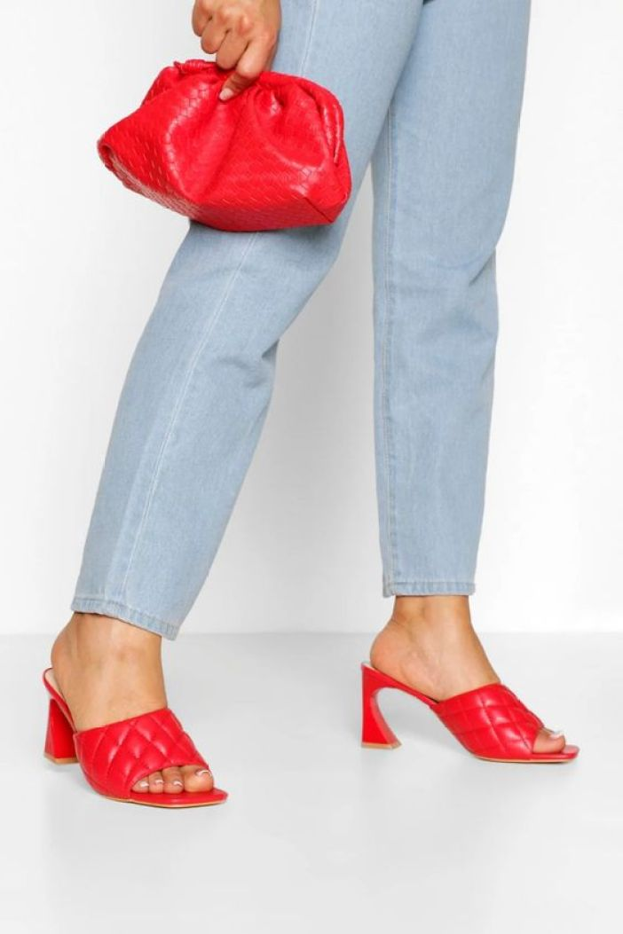 Quilted Square Toe Low Heel Mules boohoo