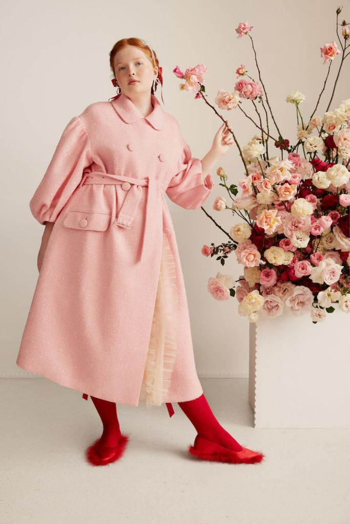 Simone Rocha x H&M tinsel detail tweed pink coat and feather red embellished pumps