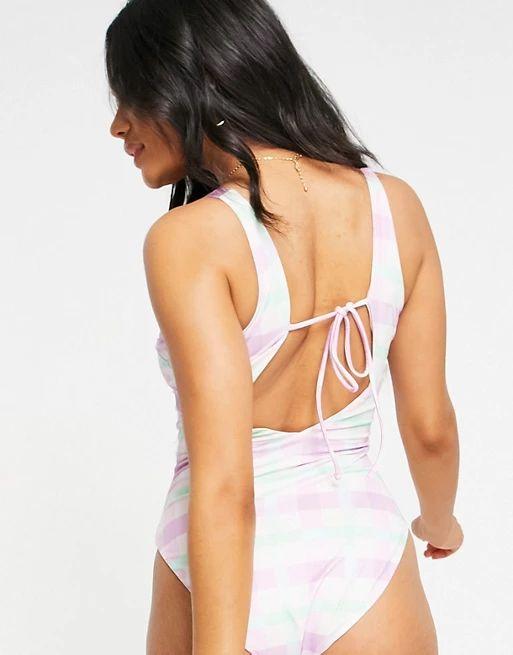 ASOS DESIGN tie back high leg swimsuit in check print